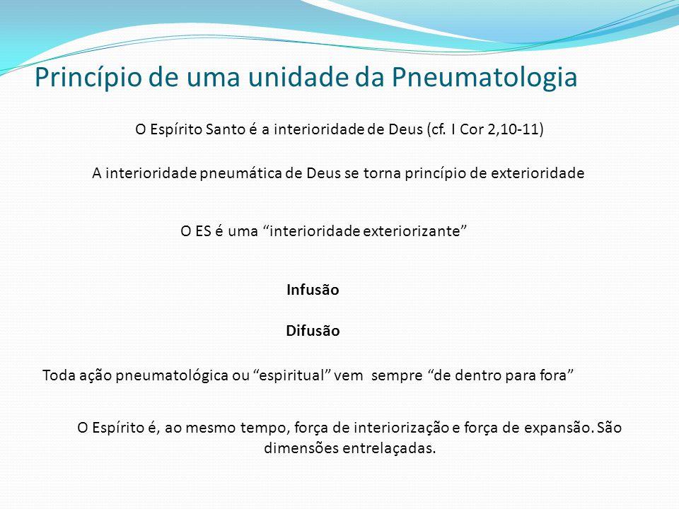 Princípio de uma unidade da Pneumatologia O Espírito Santo é a interioridade de Deus (cf.