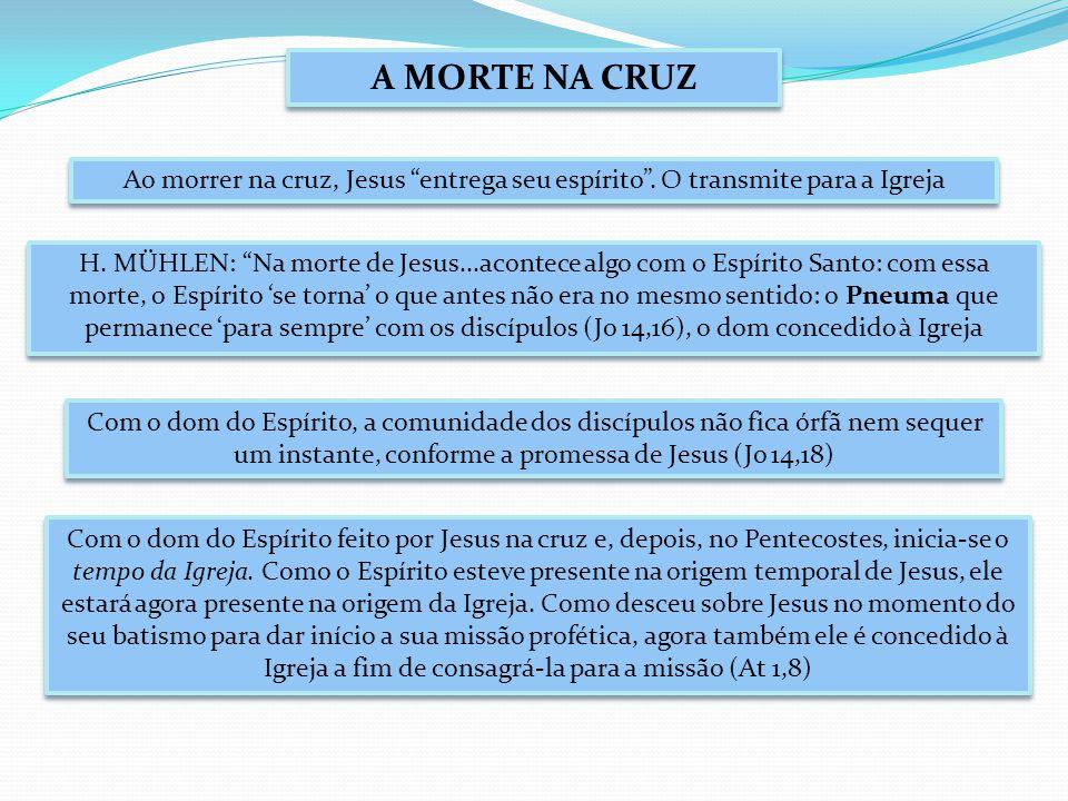A MORTE NA CRUZ Ao morrer na cruz, Jesus entrega seu espírito .