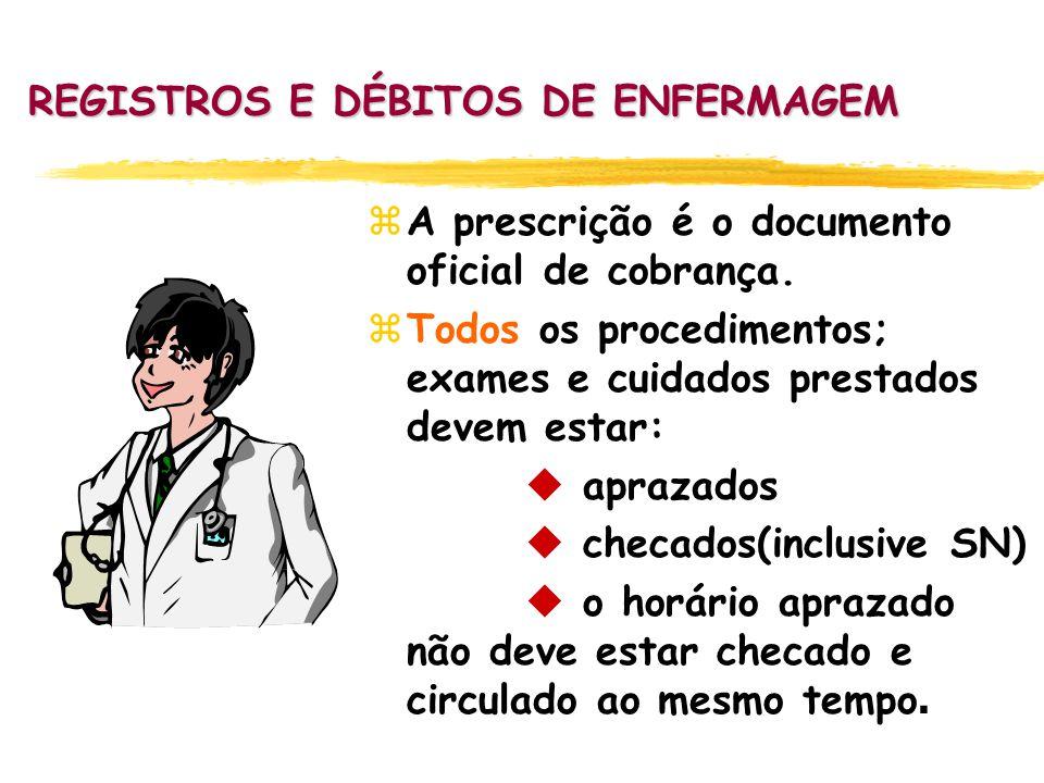 REGISTROS E DÉBITOS DE ENFERMAGEM zA prescrição é o documento oficial de cobrança. zTodos os procedimentos; exames e cuidados prestados devem estar: 