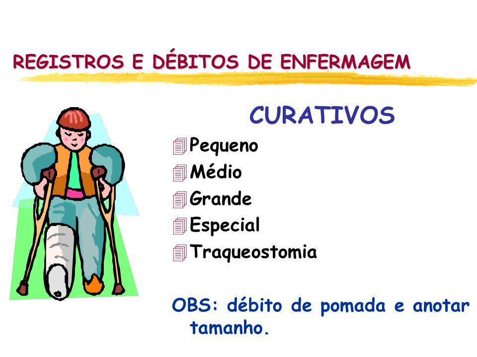 REGISTROS E DÉBITOS DE ENFERMAGEM CURATIVOS 4Pequeno 4Médio 4Grande 4Especial 4Traqueostomia OBS: débito de pomada e anotar tamanho.