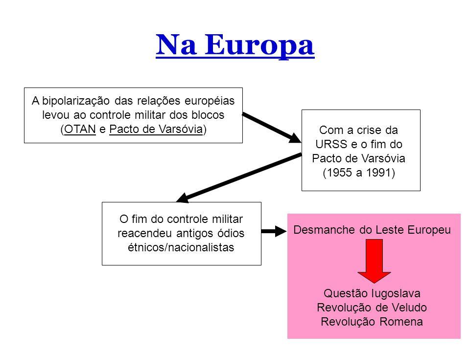 Na Europa A bipolarização das relações européias levou ao controle militar dos blocos (OTAN e Pacto de Varsóvia) Com a crise da URSS e o fim do Pacto