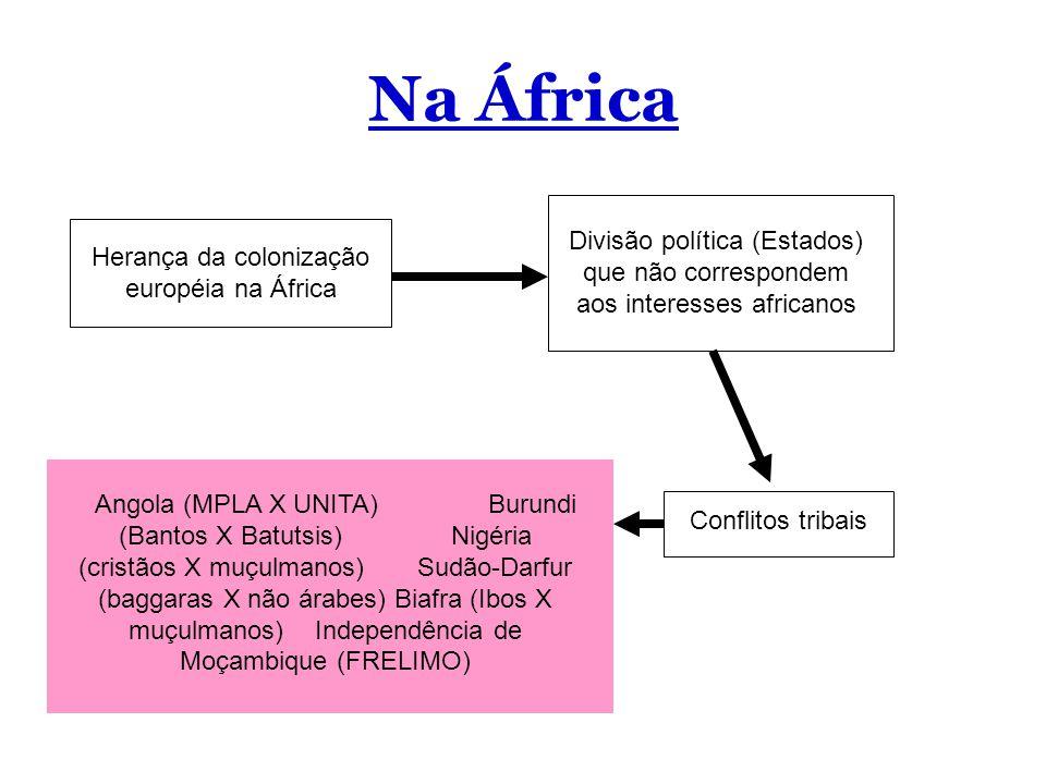 Na África Herança da colonização européia na África Divisão política (Estados) que não correspondem aos interesses africanos Conflitos tribais Angola (MPLA X UNITA) Burundi (Bantos X Batutsis) Nigéria (cristãos X muçulmanos) Sudão-Darfur (baggaras X não árabes) Biafra (Ibos X muçulmanos) Independência de Moçambique (FRELIMO)