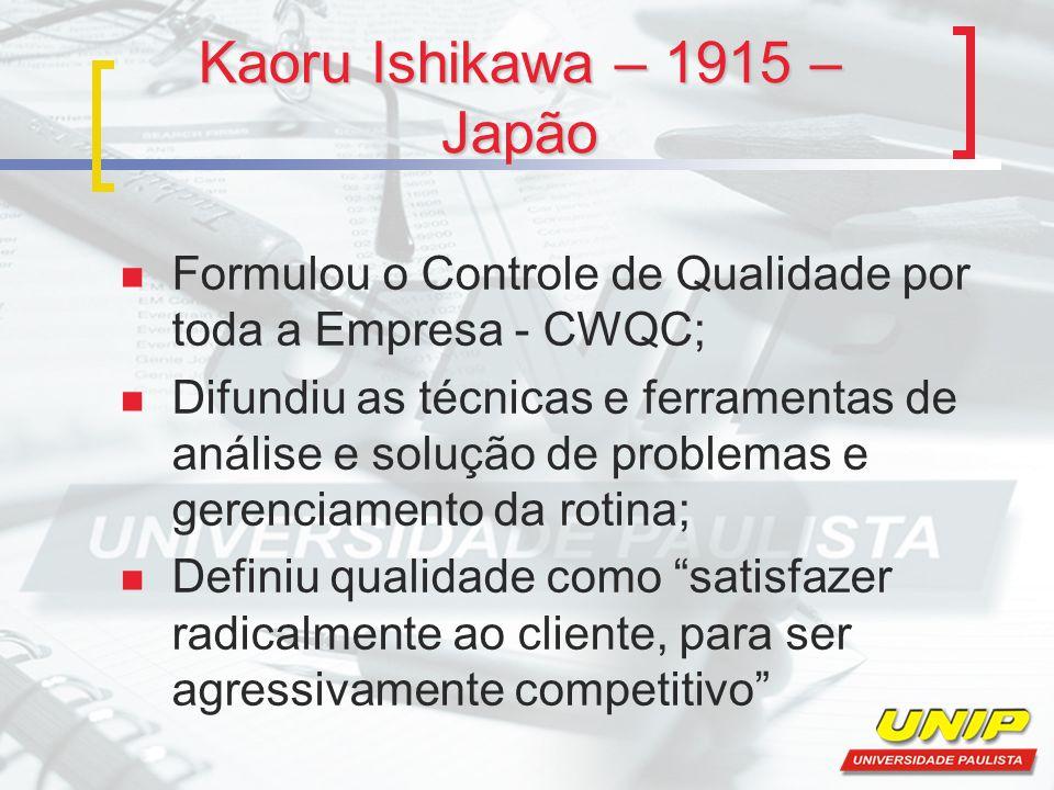 Kaoru Ishikawa – 1915 – Japão Formulou o Controle de Qualidade por toda a Empresa - CWQC; Difundiu as técnicas e ferramentas de análise e solução de p