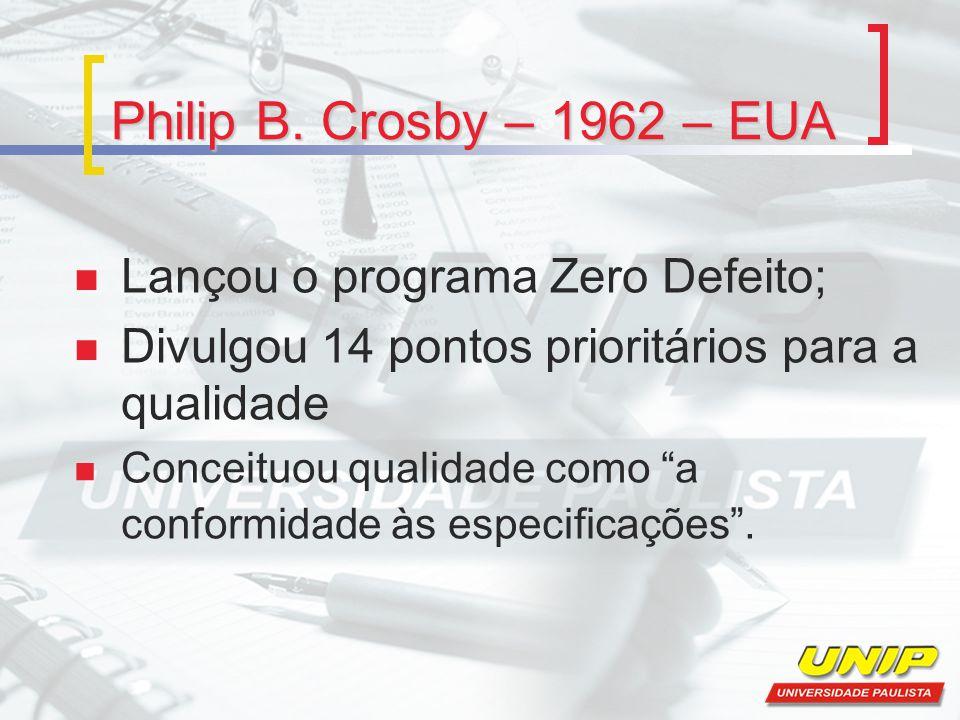"""Philip B. Crosby – 1962 – EUA Lançou o programa Zero Defeito; Divulgou 14 pontos prioritários para a qualidade Conceituou qualidade como """"a conformida"""