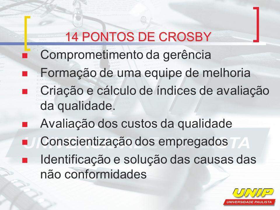 14 PONTOS DE CROSBY Comprometimento da gerência Formação de uma equipe de melhoria Criação e cálculo de índices de avaliação da qualidade. Avaliação d