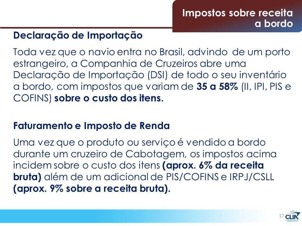 Declaração de Importação Toda vez que o navio entra no Brasil, advindo de um porto estrangeiro, a Companhia de Cruzeiros abre uma Declaração de Importação (DSI) de todo o seu inventário a bordo, com impostos que variam de 35 a 58% (II, IPI, PIS e COFINS) sobre o custo dos itens.