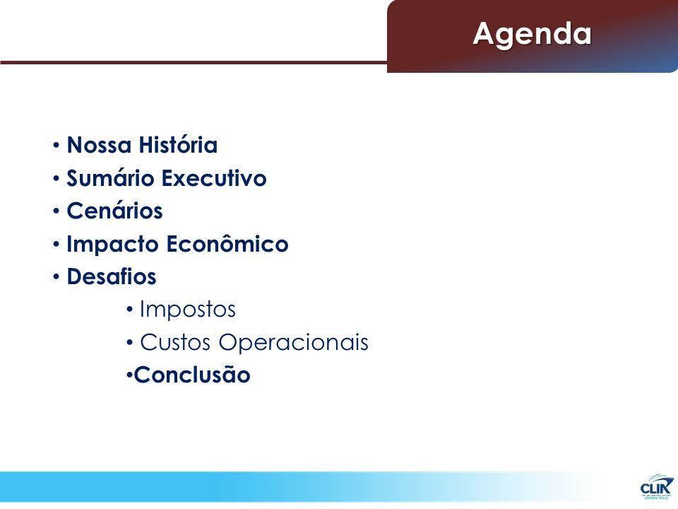 Nossa História Sumário Executivo Cenários Impacto Econômico Desafios Impostos Custos Operacionais Conclusão Agenda