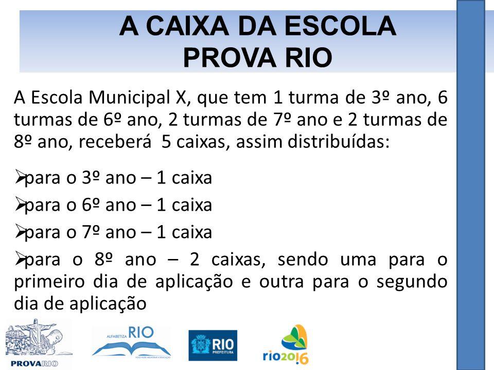 A Escola Municipal X, que tem 1 turma de 3º ano, 6 turmas de 6º ano, 2 turmas de 7º ano e 2 turmas de 8º ano, receberá 5 caixas, assim distribuídas:  para o 3º ano – 1 caixa  para o 6º ano – 1 caixa  para o 7º ano – 1 caixa  para o 8º ano – 2 caixas, sendo uma para o primeiro dia de aplicação e outra para o segundo dia de aplicação A CAIXA DA ESCOLA PROVA RIO