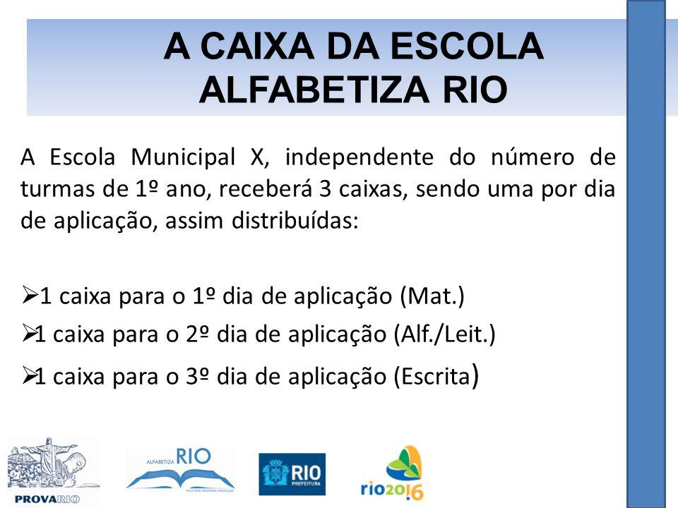 A Escola Municipal X, independente do número de turmas de 1º ano, receberá 3 caixas, sendo uma por dia de aplicação, assim distribuídas:  1 caixa para o 1º dia de aplicação (Mat.)  1 caixa para o 2º dia de aplicação (Alf./Leit.)  1 caixa para o 3º dia de aplicação (Escrita ) A CAIXA DA ESCOLA ALFABETIZA RIO