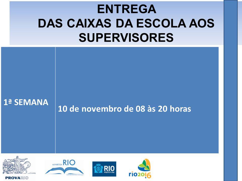 1ª SEMANA 10 de novembro de 08 às 20 horas ENTREGA DAS CAIXAS DA ESCOLA AOS SUPERVISORES