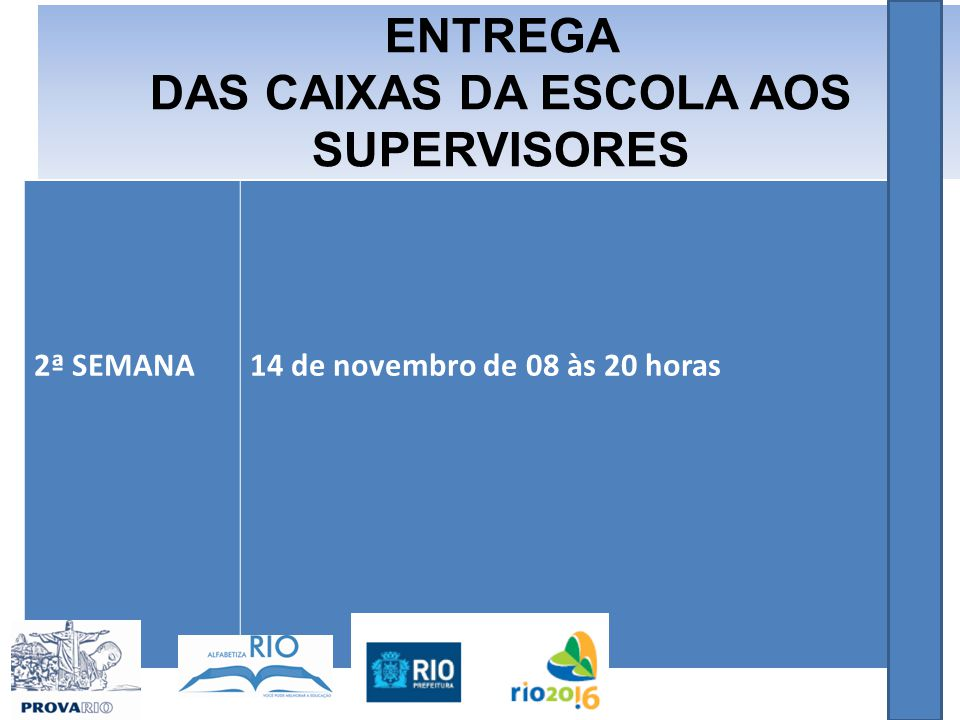 2ª SEMANA14 de novembro de 08 às 20 horas ENTREGA DAS CAIXAS DA ESCOLA AOS SUPERVISORES