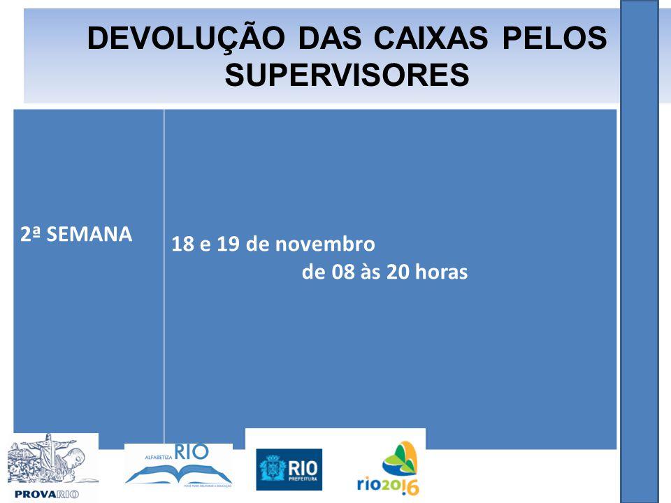 2ª SEMANA 18 e 19 de novembro de 08 às 20 horas DEVOLUÇÃO DAS CAIXAS PELOS SUPERVISORES