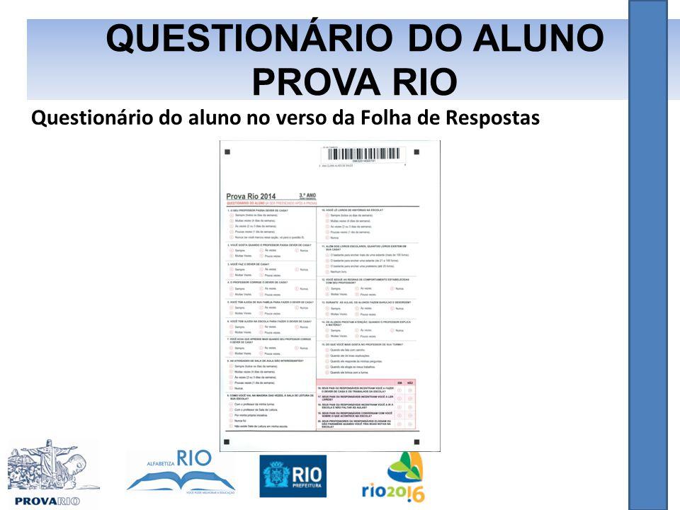 Questionário do aluno no verso da Folha de Respostas QUESTIONÁRIO DO ALUNO PROVA RIO
