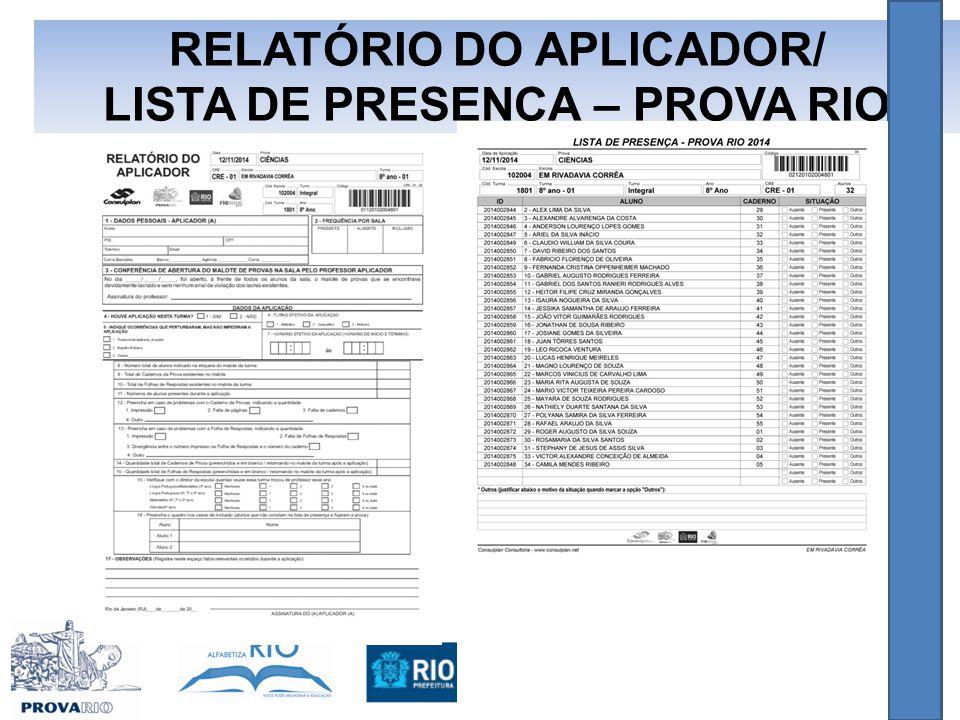 RELATÓRIO DO APLICADOR/ LISTA DE PRESENÇA – PROVA RIO