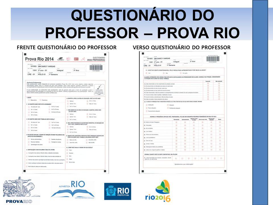QUESTIONÁRIO DO PROFESSOR – PROVA RIO FRENTE QUESTIONÁRIO DO PROFESSORVERSO QUESTIONÁRIO DO PROFESSOR