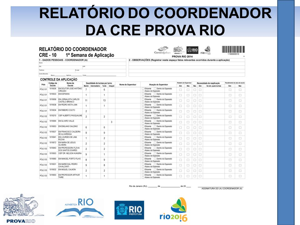 RELATÓRIO DO COORDENADOR DA CRE PROVA RIO