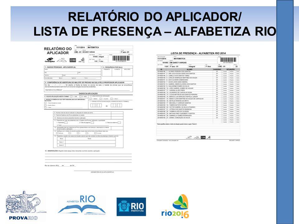 RELATÓRIO DO APLICADOR/ LISTA DE PRESENÇA – ALFABETIZA RIO