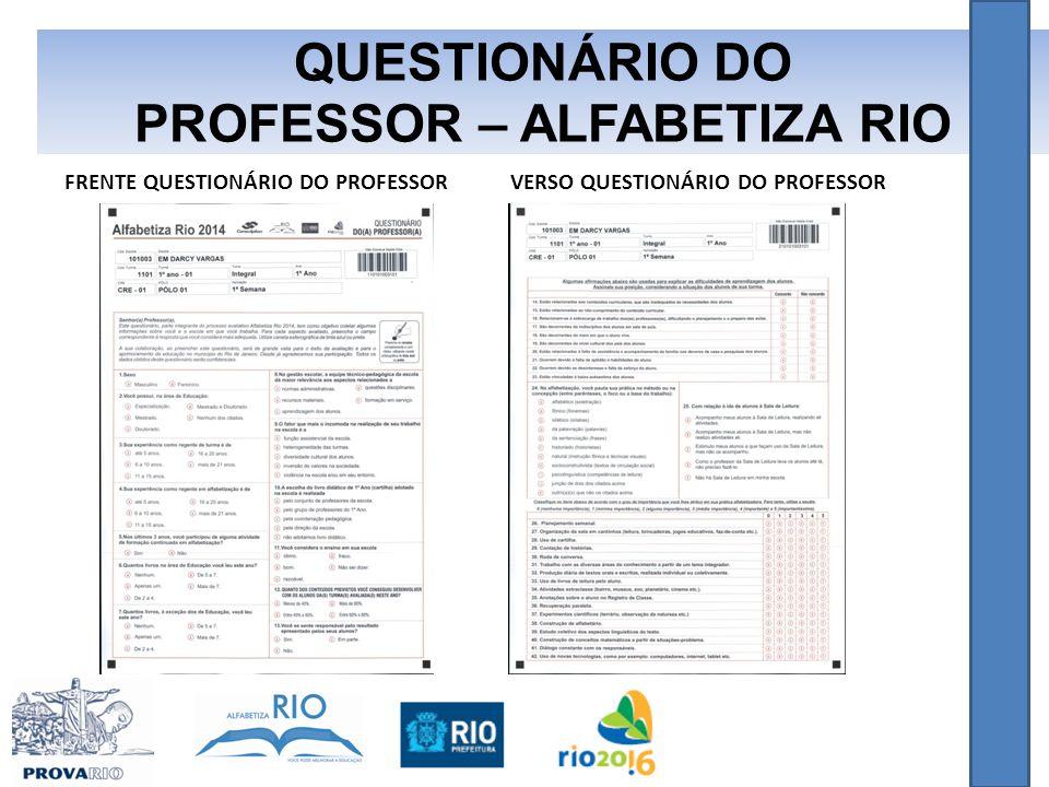 QUESTIONÁRIO DO PROFESSOR – ALFABETIZA RIO FRENTE QUESTIONÁRIO DO PROFESSORVERSO QUESTIONÁRIO DO PROFESSOR
