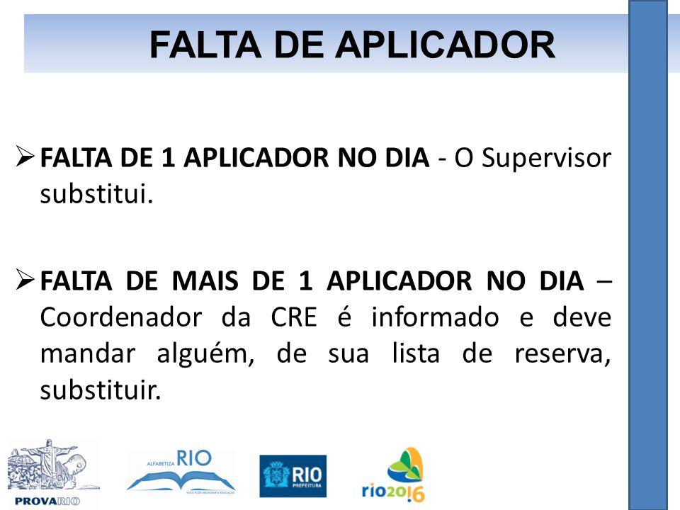  FALTA DE 1 APLICADOR NO DIA - O Supervisor substitui.