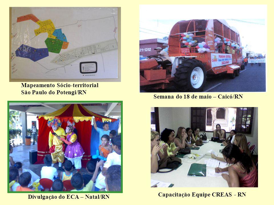 Semana do 18 de maio – Caicó/RN Divulgação do ECA – Natal/RN Capacitação Equipe CREAS - RN Mapeamento Sócio-territorial São Paulo do Potengi/RN