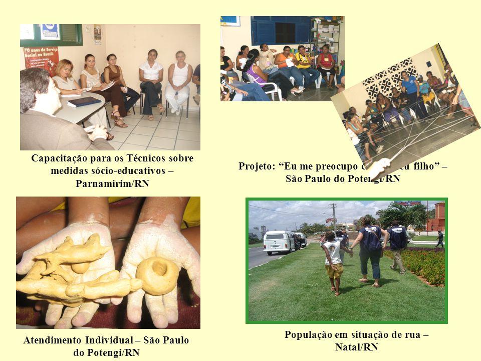Atendimento Individual – São Paulo do Potengi/RN População em situação de rua – Natal/RN Projeto: Eu me preocupo com o meu filho – São Paulo do Potengi/RN Capacitação para os Técnicos sobre medidas sócio-educativos – Parnamirim/RN