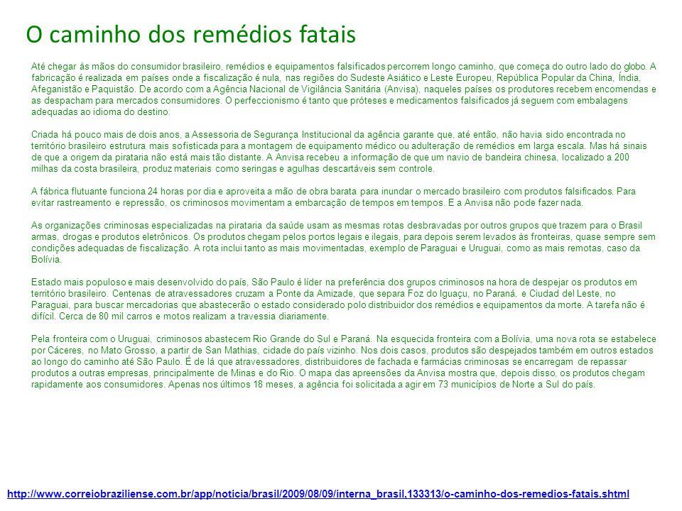http://www.correiobraziliense.com.br/app/noticia/brasil/2009/08/09/interna_brasil,133313/o-caminho-dos-remedios-fatais.shtml O caminho dos remédios fatais Até chegar às mãos do consumidor brasileiro, remédios e equipamentos falsificados percorrem longo caminho, que começa do outro lado do globo.