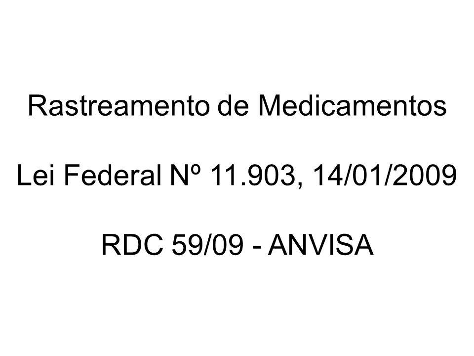 O que diz a lei 11.903 de 14/01/2009: – Todo medicamento produzido, dispensado ou vendido no território nacional será controlado por meio do Sistema Nacional de Controle de Medicamentos.