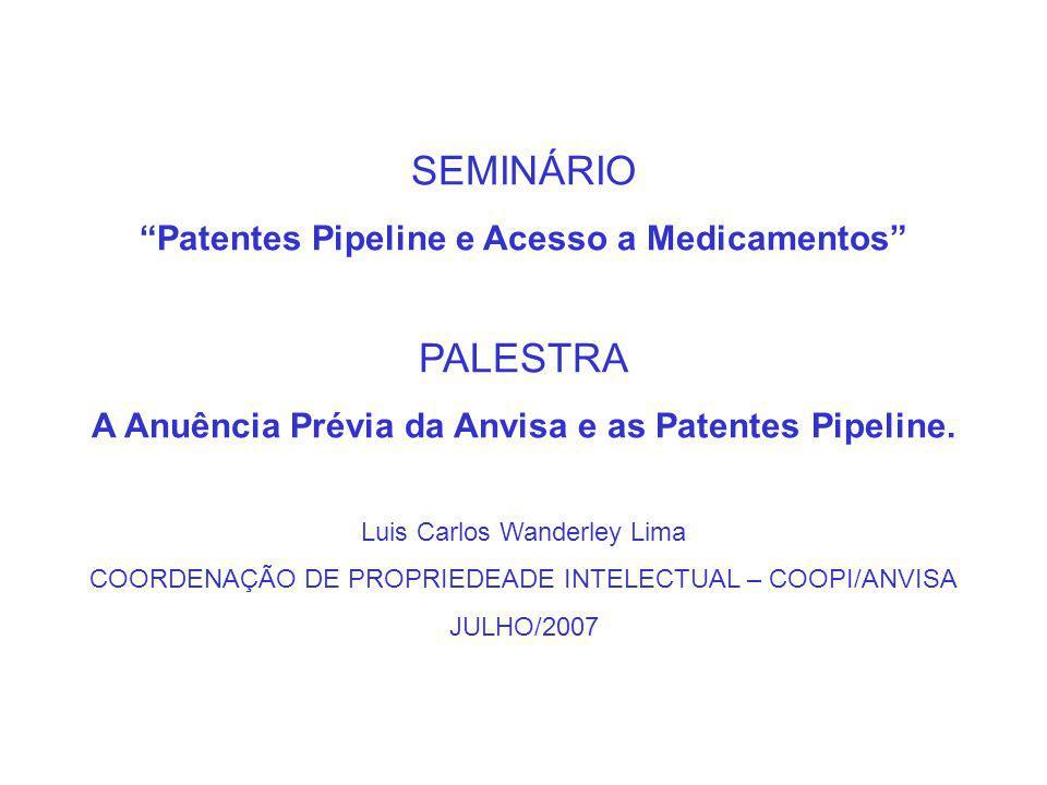 SEMINÁRIO Patentes Pipeline e Acesso a Medicamentos PALESTRA A Anuência Prévia da Anvisa e as Patentes Pipeline.