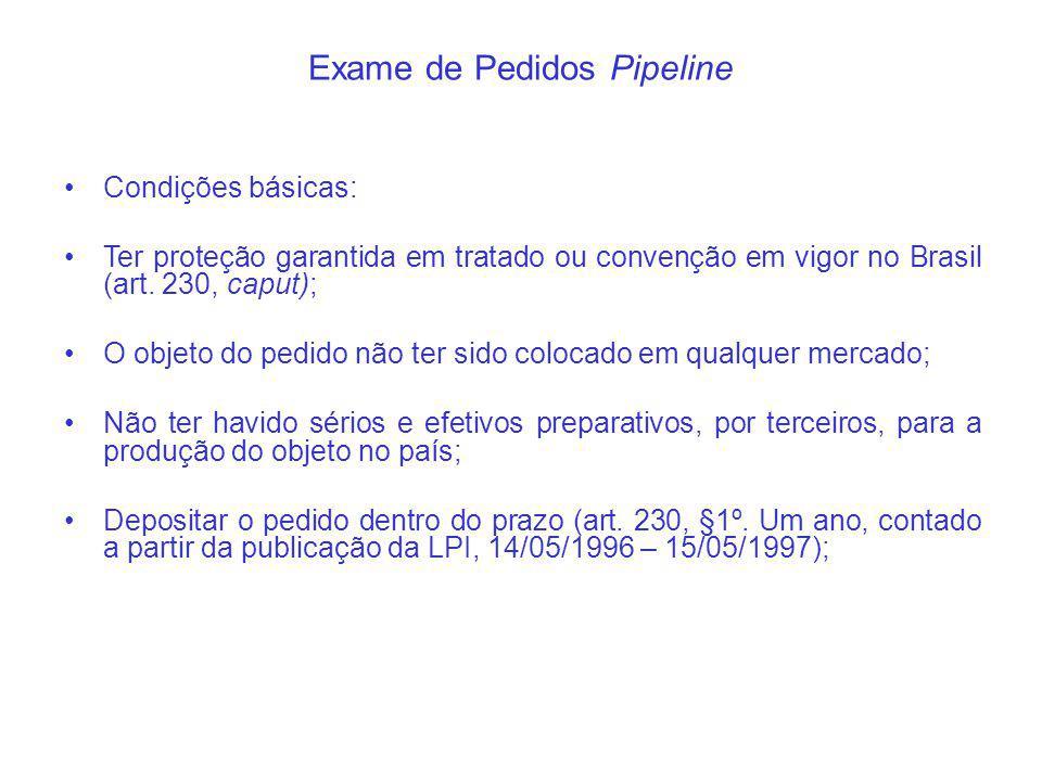 Exame de Pedidos Pipeline Condições básicas: Ter proteção garantida em tratado ou convenção em vigor no Brasil (art.