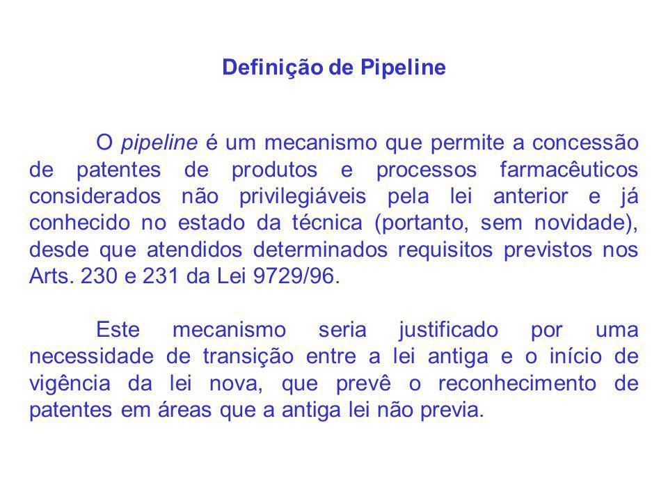 Definição de Pipeline O pipeline é um mecanismo que permite a concessão de patentes de produtos e processos farmacêuticos considerados não privilegiáveis pela lei anterior e já conhecido no estado da técnica (portanto, sem novidade), desde que atendidos determinados requisitos previstos nos Arts.
