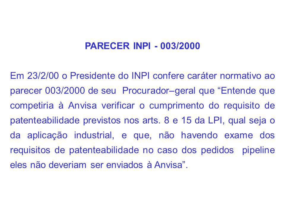 PARECER INPI - 003/2000 Em 23/2/00 o Presidente do INPI confere caráter normativo ao parecer 003/2000 de seu Procurador–geral que Entende que competiria à Anvisa verificar o cumprimento do requisito de patenteabilidade previstos nos arts.