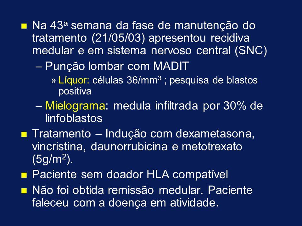 n n Na 43 a semana da fase de manutenção do tratamento (21/05/03) apresentou recidiva medular e em sistema nervoso central (SNC) – –Punção lombar com MADIT » »Líquor: células 36/mm 3 ; pesquisa de blastos positiva – –Mielograma: medula infiltrada por 30% de linfoblastos n n Tratamento – Indução com dexametasona, vincristina, daunorrubicina e metotrexato (5g/m 2 ).