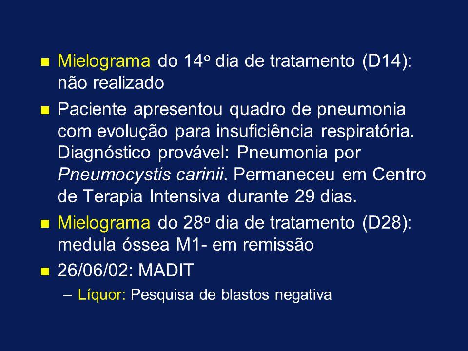 n n Mielograma do 14 o dia de tratamento (D14): não realizado n n Paciente apresentou quadro de pneumonia com evolução para insuficiência respiratória.