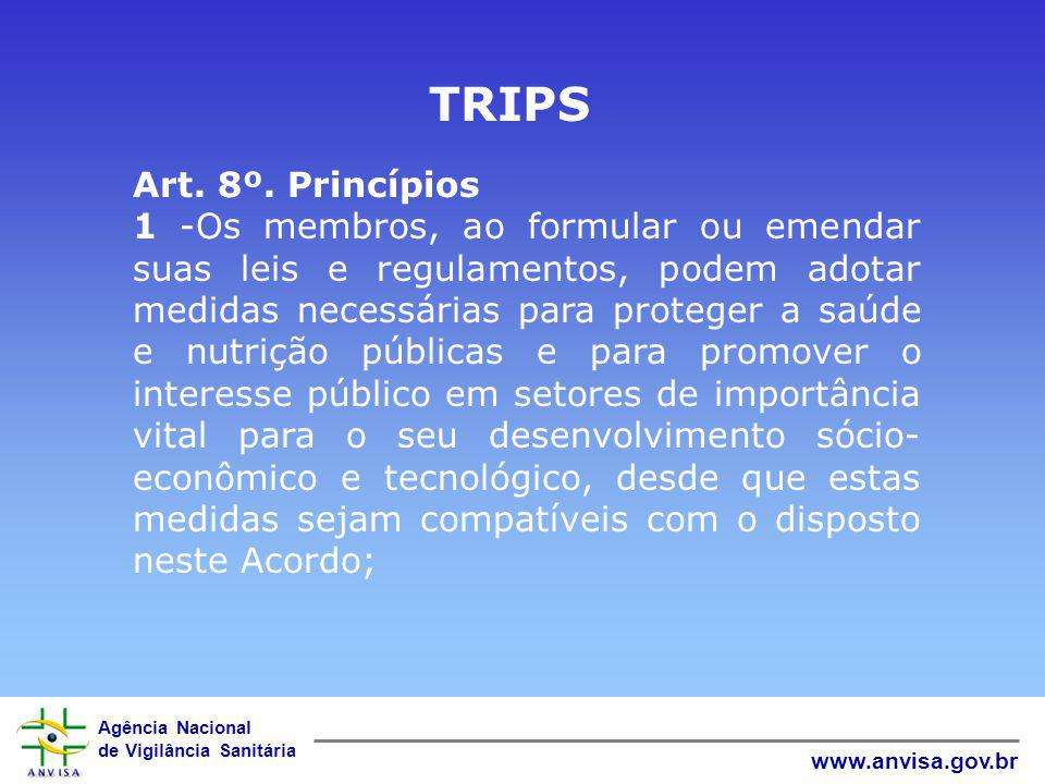 Agência Nacional de Vigilância Sanitária www.anvisa.gov.br Coordenação de Propriedade Intelectual - COOPI Criação 14/12/1999 Enviada ao Congresso Nacional MP 2006 alterando a LPI( lei 9279/96) e criando a participação da ANVISA na concessão de Patentes de medicamentos.