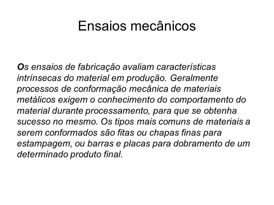 Ensaios mecânicos Os ensaios de fabricação avaliam características intrínsecas do material em produção. Geralmente processos de conformação mecânica d