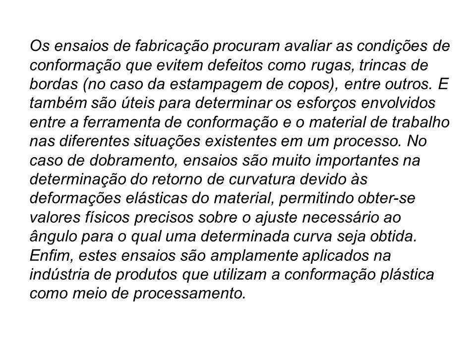 Os ensaios de fabricação procuram avaliar as condições de conformação que evitem defeitos como rugas, trincas de bordas (no caso da estampagem de copo