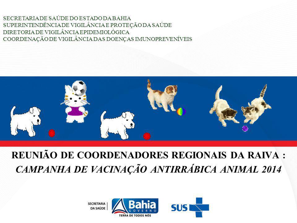 ROTEIRO DA APRESENTAÇÃO ANÁLISE DO RESULTADO DA CAMPANHA DE VACINAÇÃO ANTIRRÁBICA ANIMAL 2013 CAMPANHA DE VACINAÇÃO ANTIRRÁBICA ANIMAL 2014 PLANO DE AÇÃO FINANCIAMENTO DESTAQUES: Memória da Reunião Nacional de Avaliação da Vigilância e Controle da Raiva em 25 e 26 de Fevereiro 2014 – Brasília - DF Registro de Animais Vacinados Portaria Nº1.138 de 23 Maio de 2014