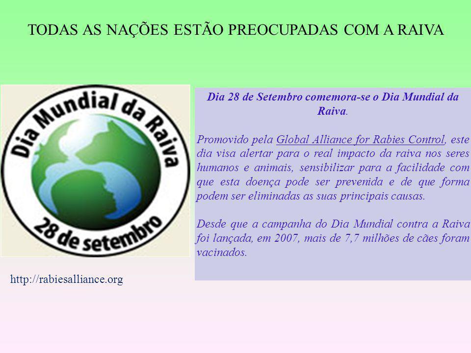 Dia 28 de Setembro comemora-se o Dia Mundial da Raiva. Promovido pela Global Alliance for Rabies Control, este dia visa alertar para o real impacto da