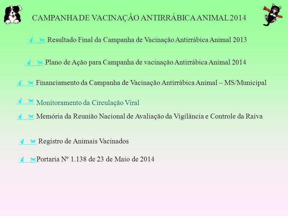     Financiamento da Campanha de Vacinação Antirrábica Animal – MS/Municipal CAMPANHA DE VACINAÇÃO ANTIRRÁBICA ANIMAL 2014     Registro de Ani