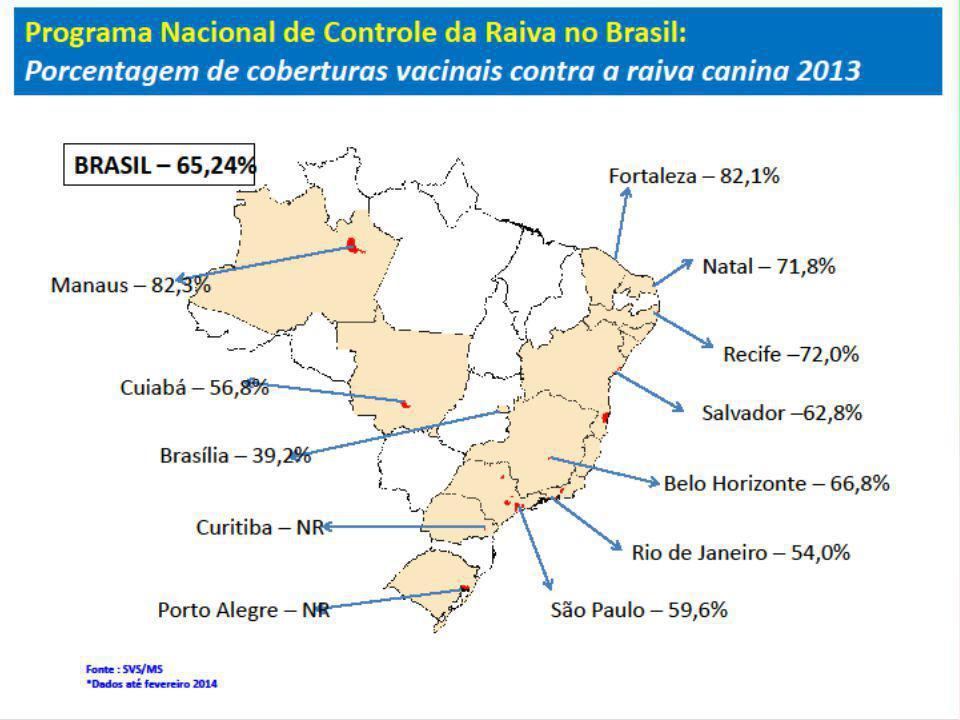 Ano%Cobertura Vacinal Antirrábica Animal por Campanha 200796,1 200884,4 200976,5 201074,3 201172,3 201271,0 201375,3 Na Bahia, no período de 1975 a 1991 foram identificados 96 casos de Raiva Humana onde o cão foi o animal agressor mais freqüente (85,6%), secundariamente o morcego, seguido do gato e da raposa (NETO, 2002).