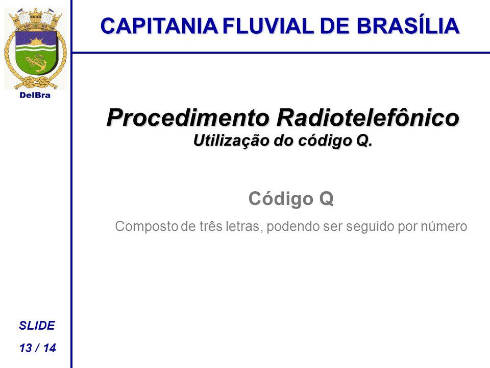 CAPITANIA FLUVIAL DE BRASÍLIA SLIDE 13 / 14 Procedimento Radiotelefônico Utilização do código Q.
