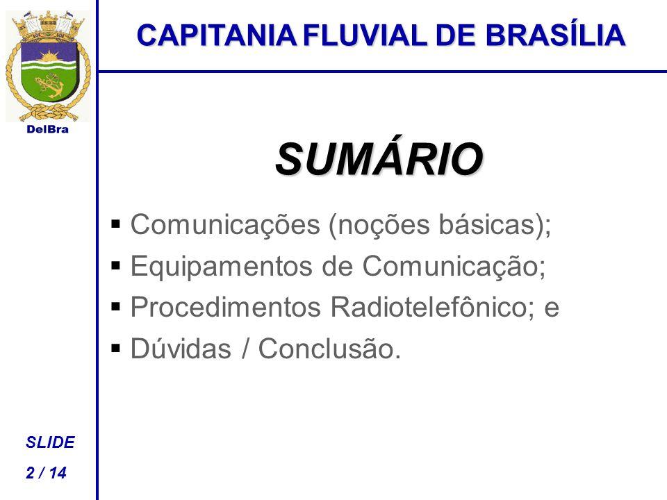 SUMÁRIO   Comunicações (noções básicas);   Equipamentos de Comunicação;   Procedimentos Radiotelefônico; e   Dúvidas / Conclusão.