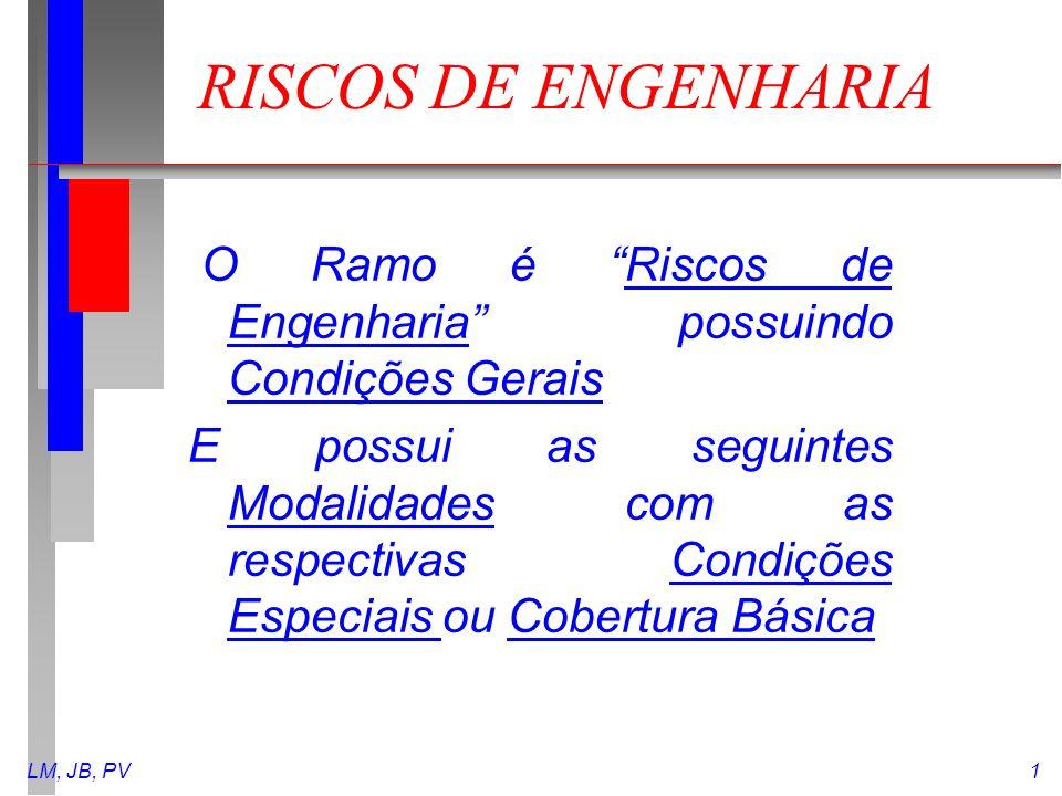 """LM, JB, PV1 RISCOS DE ENGENHARIA O Ramo é """"Riscos de Engenharia"""" possuindo Condições Gerais E possui as seguintes Modalidades com as respectivas Condi"""