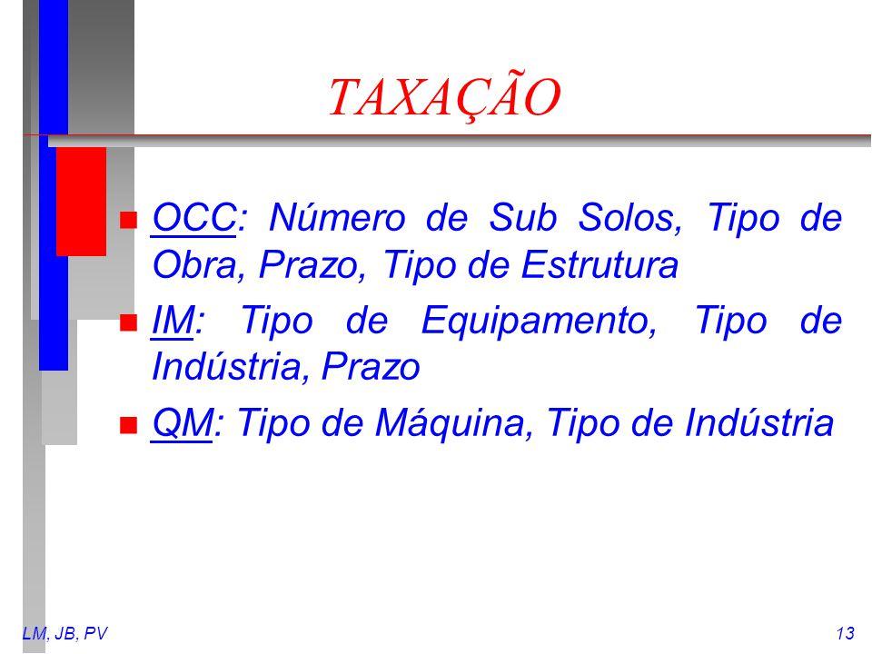 LM, JB, PV13 TAXAÇÃO n OCC: Número de Sub Solos, Tipo de Obra, Prazo, Tipo de Estrutura n IM: Tipo de Equipamento, Tipo de Indústria, Prazo n QM: Tipo