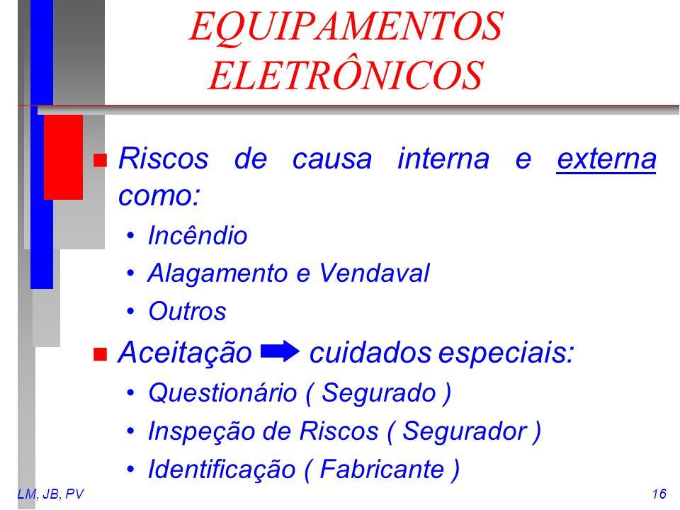 LM, JB, PV16 EQUIPAMENTOS ELETRÔNICOS n Riscos de causa interna e externa como: Incêndio Alagamento e Vendaval Outros n Aceitação cuidados especiais: