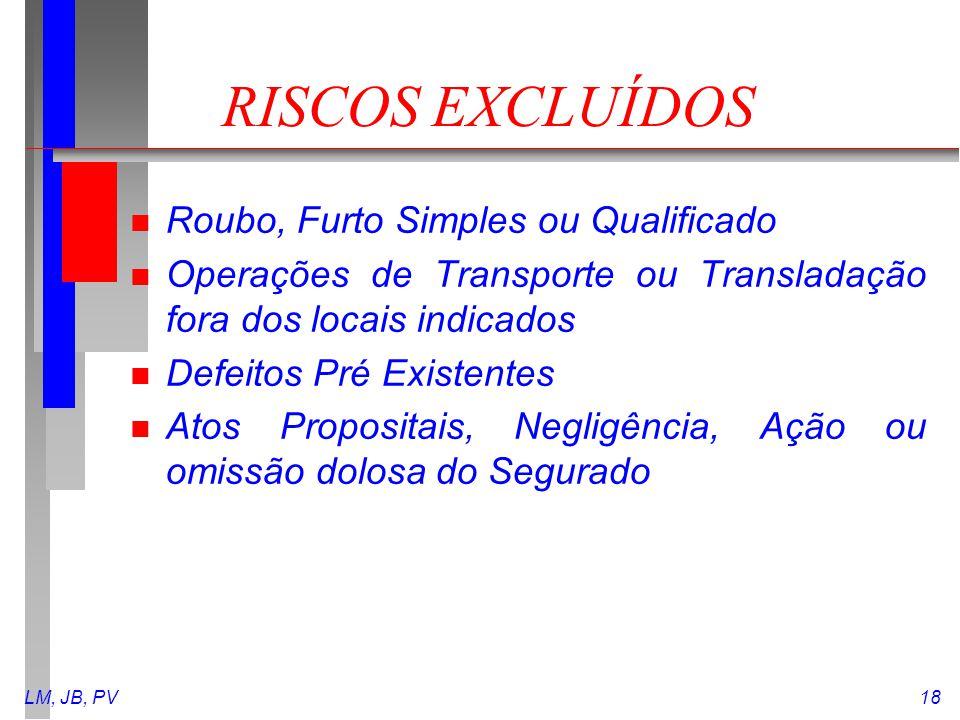 LM, JB, PV18 RISCOS EXCLUÍDOS n Roubo, Furto Simples ou Qualificado n Operações de Transporte ou Transladação fora dos locais indicados n Defeitos Pré