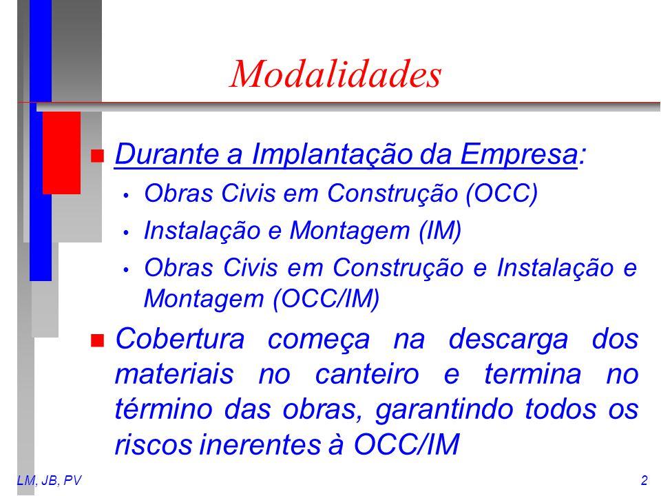 LM, JB, PV2 Modalidades n Durante a Implantação da Empresa: Obras Civis em Construção (OCC) Instalação e Montagem (IM) Obras Civis em Construção e Ins