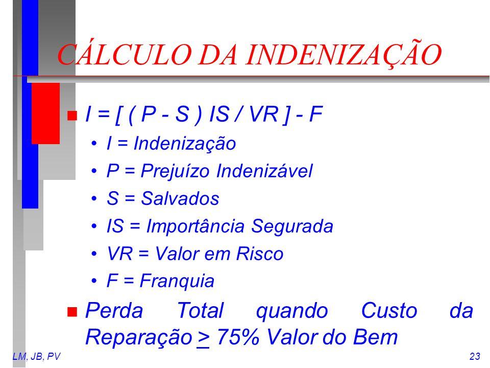 LM, JB, PV23 CÁLCULO DA INDENIZAÇÃO n I = [ ( P - S ) IS / VR ] - F I = Indenização P = Prejuízo Indenizável S = Salvados IS = Importância Segurada VR