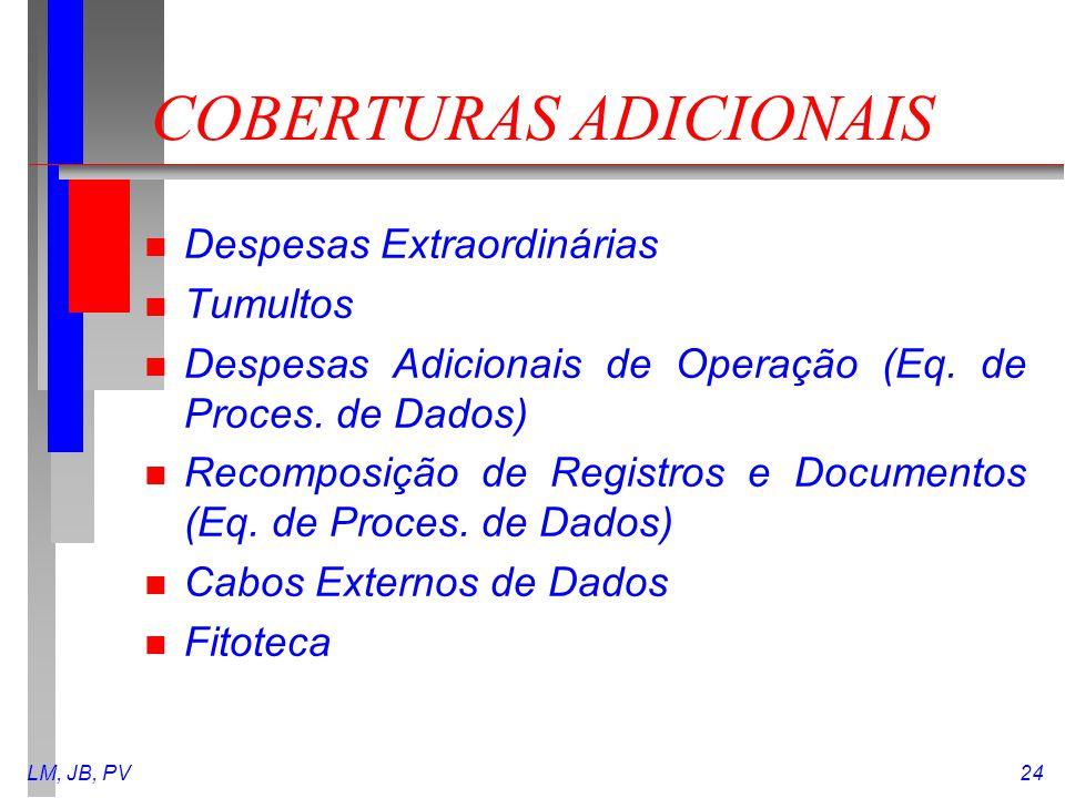 LM, JB, PV24 COBERTURAS ADICIONAIS n Despesas Extraordinárias n Tumultos n Despesas Adicionais de Operação (Eq. de Proces. de Dados) n Recomposição de