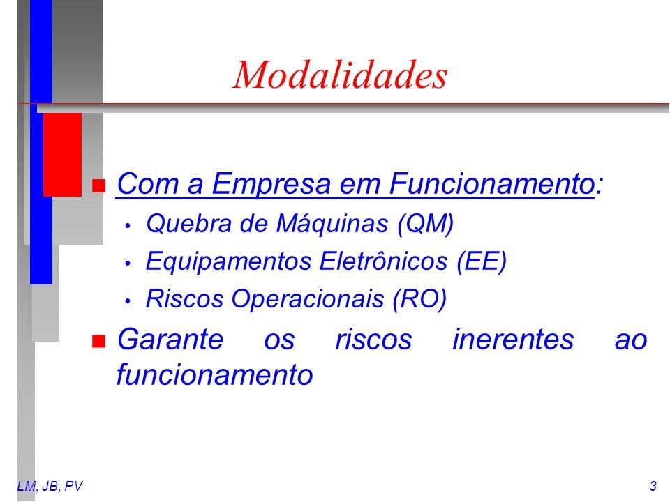 LM, JB, PV3 Modalidades n Com a Empresa em Funcionamento: Quebra de Máquinas (QM) Equipamentos Eletrônicos (EE) Riscos Operacionais (RO) n Garante os